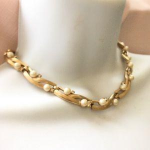 TRIFARI Gold Faux Pearl Rhinestone Necklace
